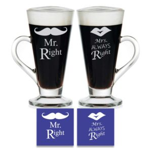 Engraved Mr Right Mrs Always Right Tea Mugs