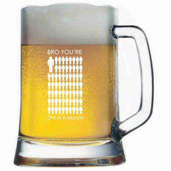 Engraved One in a Million Brother Pub Tempo Beer Mug