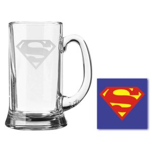 Engraved Super Man Icon Beer Mug With Coaster