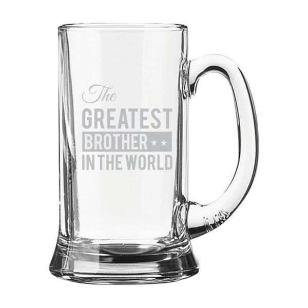Engraved The Greatest Brother In Law Beer Glass
