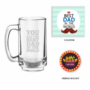 Engraved Best Dad Beer Mug with Fridge Magnet