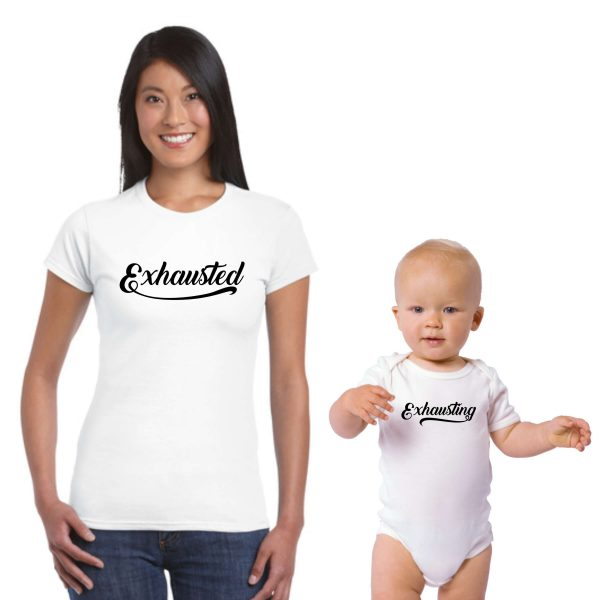 Exhausting & Exhausted Parent and Child T-shirt