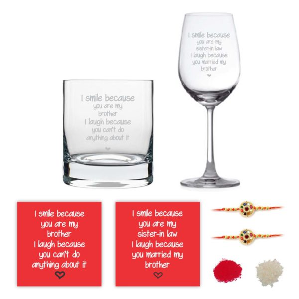 Engraved Funny I Smile I Laugh Bhaiya Bhabhi Whiskey and Wine Glasses