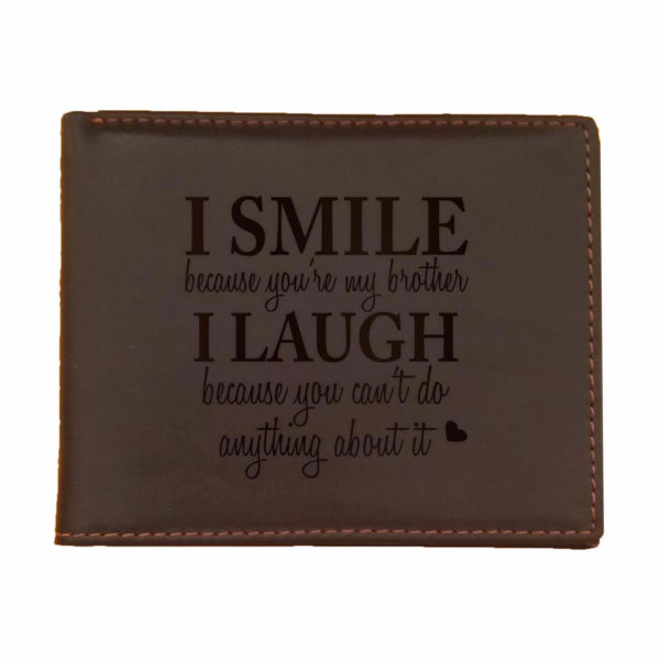 Funny I smile I Laugh Brother Men's Leather Wallet for Brother_Brown