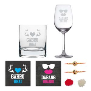 Gabru Bhai Dabang Bhabhi Wine And Whiskey Glass