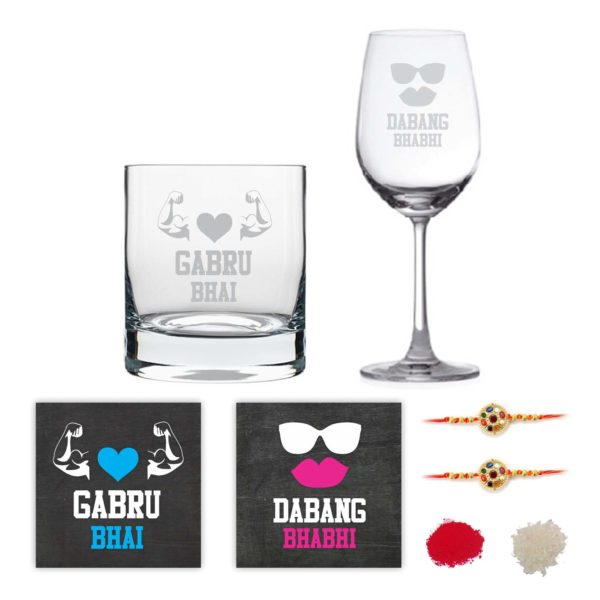 Engraved Gabru Bhai Dabang Bhabhi Whiskey and Wine Glasses