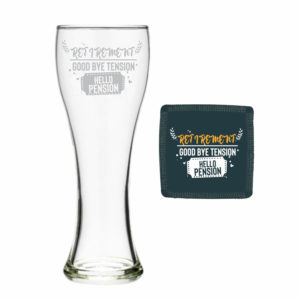 Good Bye Tension Hello Pension Retirement Beer Pilsner Glass