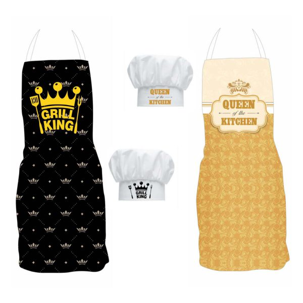 Grill King Kitchen Queen Aprons set with chef hats