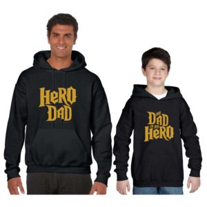 Hero Dad and Child Parent and Child Family Sweatshirts