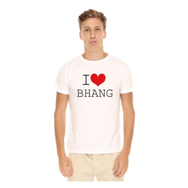 I Love Bhang T-shirt-White-Front