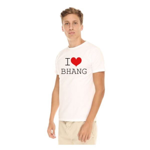 I Love Bhang T-shirt-White-Side