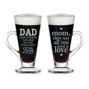 I Love Mom Dad Engraved Tea Mugs