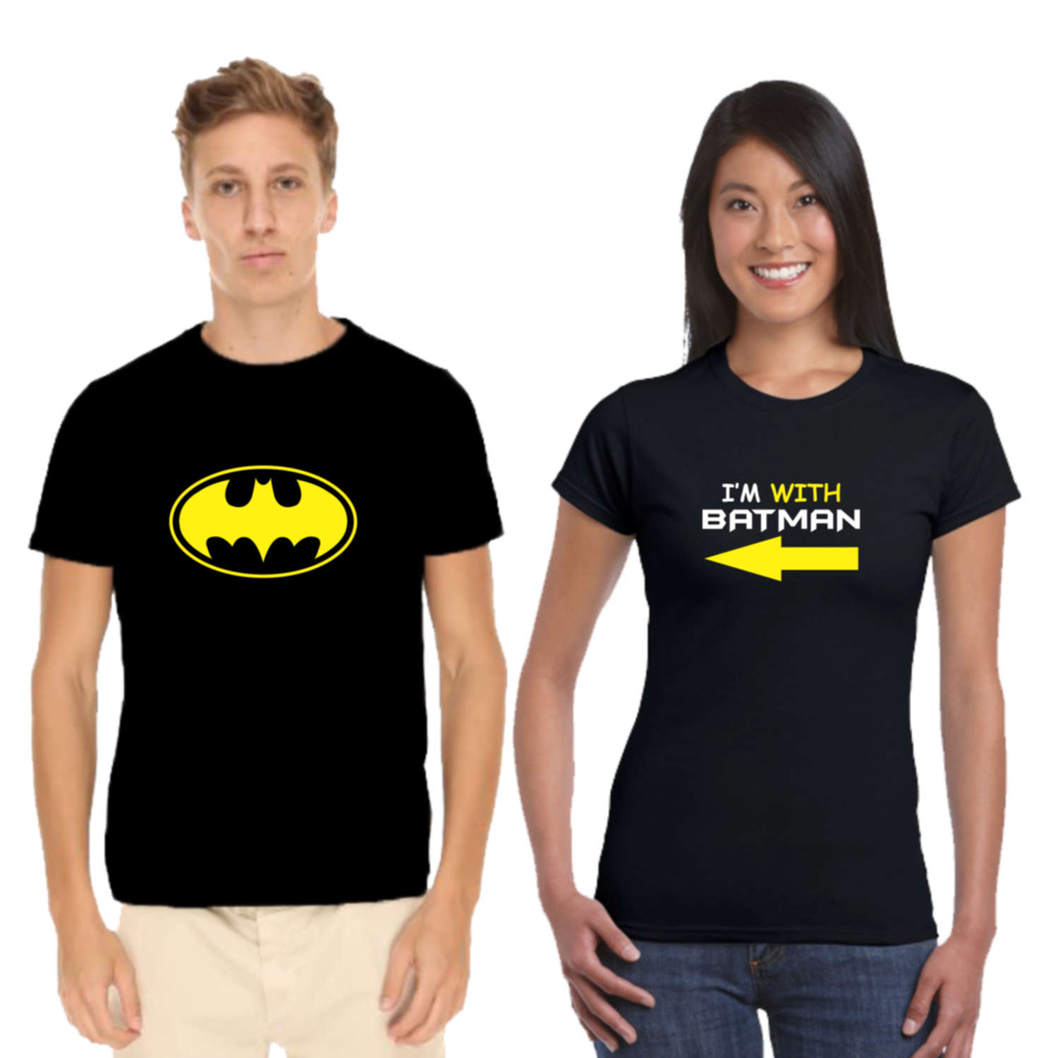 03c9dd5a06 I am With Batman Couple T-shirt - Giftsmate