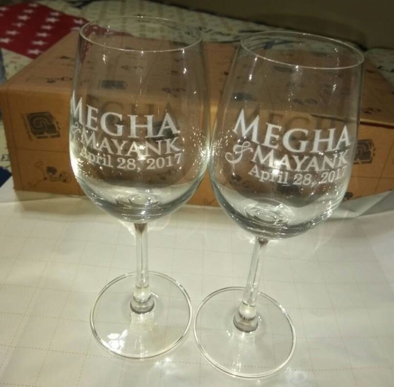Personalized Engraved Wedding Anniversary Wine Glasses