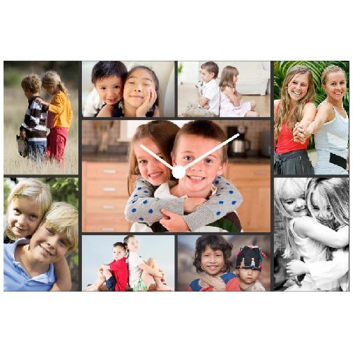Joyous 9 Photo Collage Square Wall Clock