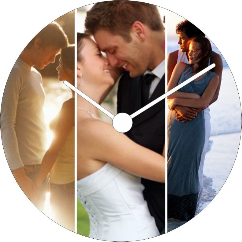 Joysome Round Photo Collage Wall Clock with 3 Photos