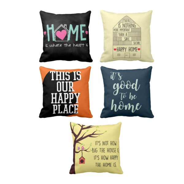 Its Good to Be Home Printed Cushion Cover Set of 5