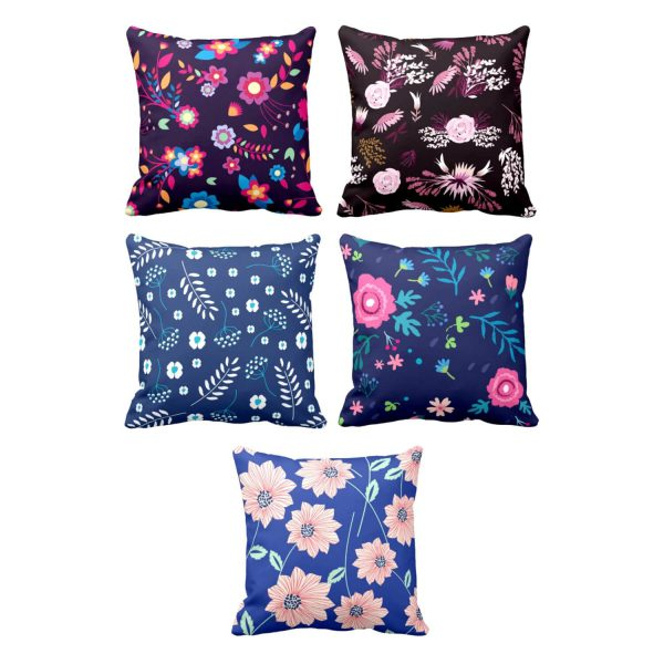 Admirable Exquisite Floral Flowers Cushion Cover Set of 5