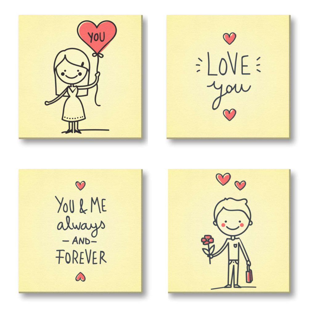 You and Me Always and Forever Painting Canvas Frame set of 4