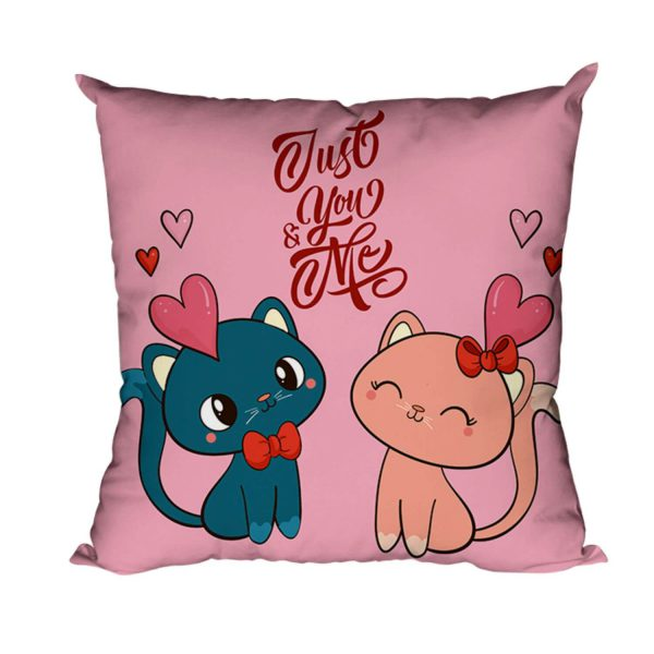 Cute Cat Love Just You Me Cushion Cover
