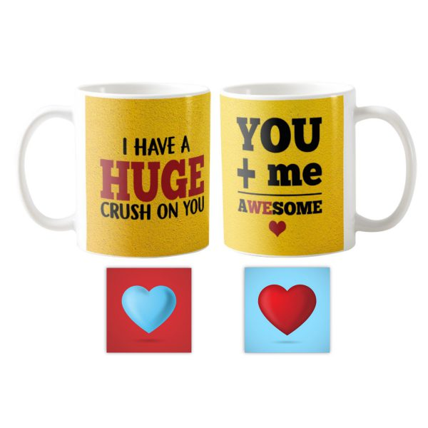 You and Me Awesome Hug Me Couple Coffee Mug