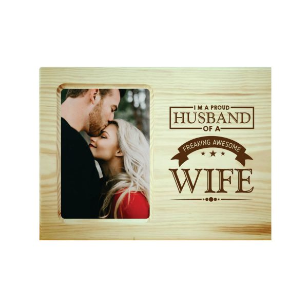 Proud Husband of Awesome Wife Engraved Photo Frame
