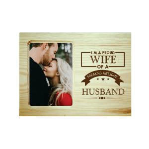 Proud Wife of Awesome Husband Engraved Photo Frame