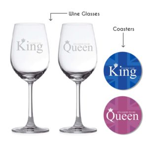 King And Queen Couple Wine Glasses
