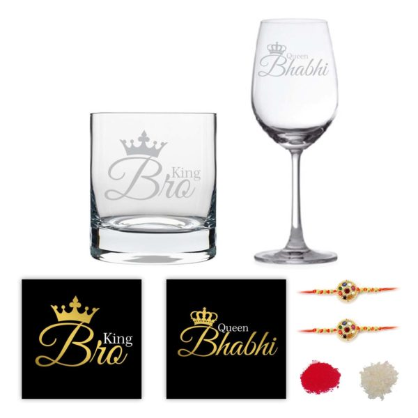 Engraved King Bro Queen Bhabhi Whiskey and Wine Glasses