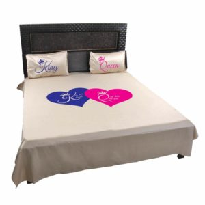 King and Queen Printed Couple Bedsheet