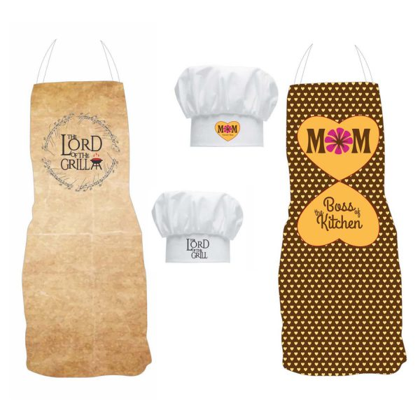 Kitchen Boss Mom Lord of Grill Dad Couple Aprons set with Chef Hat
