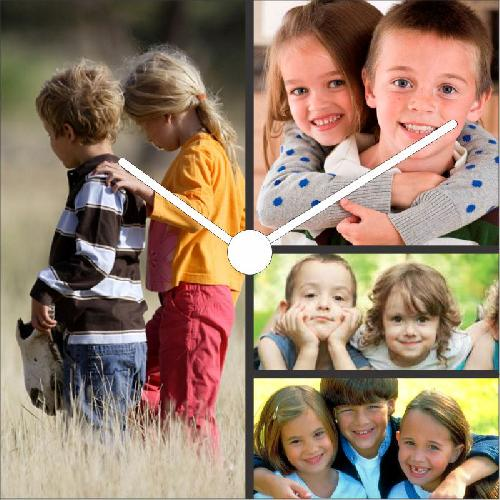 Live the Moments 4 Square Photo Collage Canvas Wall Clock