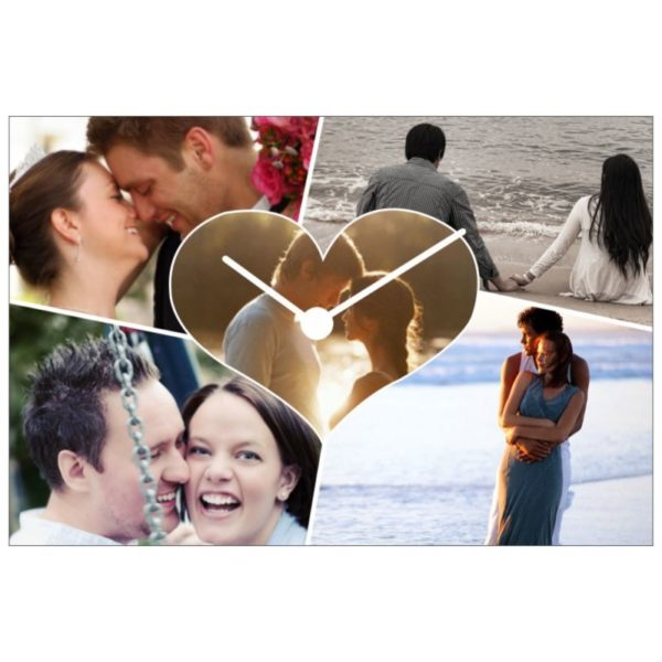 Love Photo Collage Canvas Clock with 5 Photos