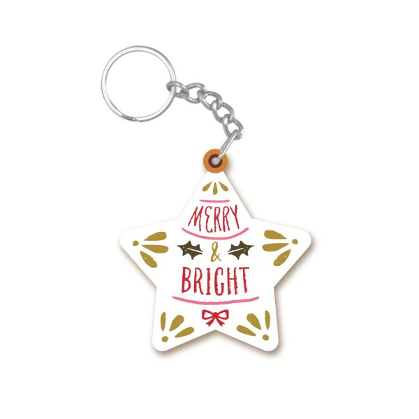 Merry and Bright Star Shaped Christmas keychain