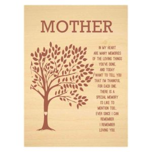 Mom In My Heart Poem plaque