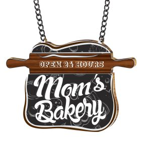 Moms Bakery Open 24 hrs Kitchen Wall Hanging
