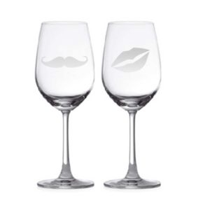 Moustache & Lips Couple Wine Glasses with sublimation glass coasters