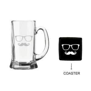 Moustaches Beer Mug With Coaster