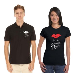 Mr Right Mrs Always Right Couple Polo Round neck tshirt