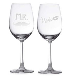 Mr. & Mrs. with Moustache & Lips Couple Wine Glass