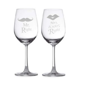 Mr. Right & Mrs. Always Right Couple Wine Glasses