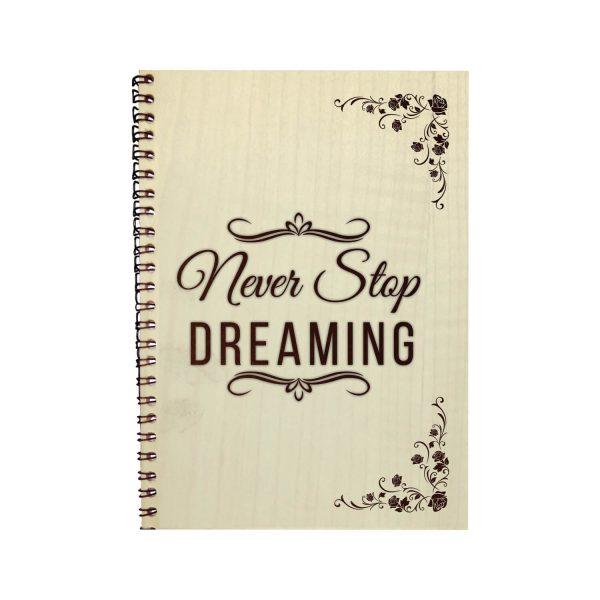 Engraved Never Stop Dreaming Motivational Diary