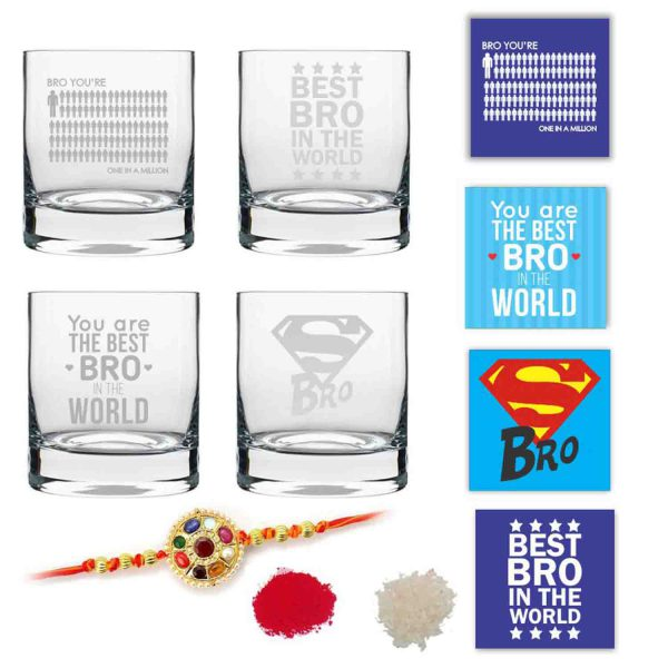 One in a Million Brother Whiskey Glasses Set of 4 With Rakhi