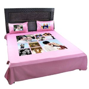 Personalized 10 Photo Collage Double Bed sheet with Pillow Covers