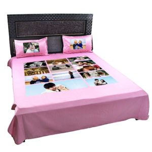 Personalized 12 Photo Collage Double Bed sheet with Pillow Covers