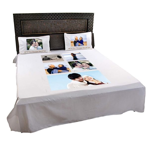 Personalised 5 Photo Collage Bedsheet (Off-White) 2