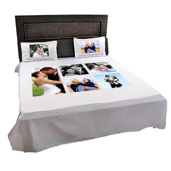 Personalised 5 Photo Collage-Bedsheet (Off-White) 3