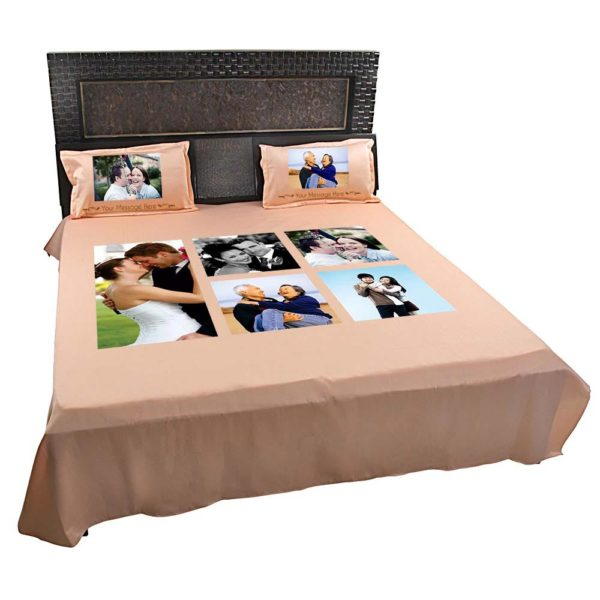 Personalised-5-Photo-Collage-Bedsheet-(Peach)-1