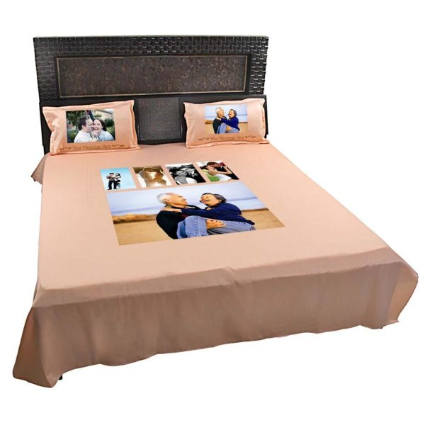 Personalised-5-Photo-Collage-Bedsheet-(Peach)-2