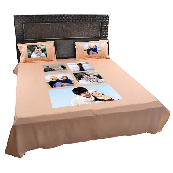 Personalised-5-Photo-Collage-Bedsheet-(Peach)-3